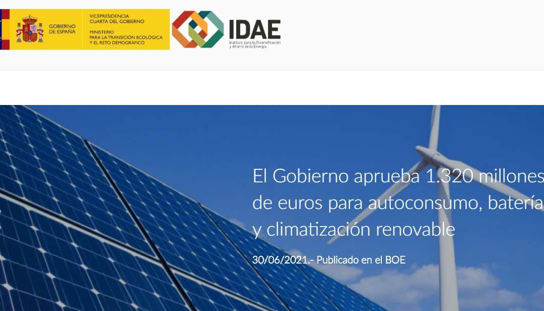 Aprobados 1.320 millones de euros para autoconsumo, baterías y climatización renovable